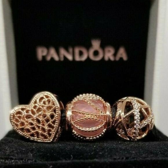 3 Pandora Rose Gold Heart Charms galaxy Radiance